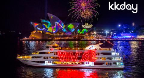 The Vivid Sydney cruise sailing past the Sydney Opera House during Vivid Sydney