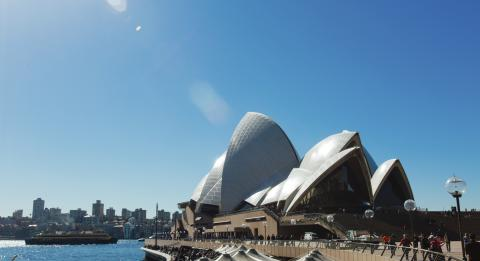 Visitors enjoying a day by Sydney Harbour from the Sydney Opera House, Sydney